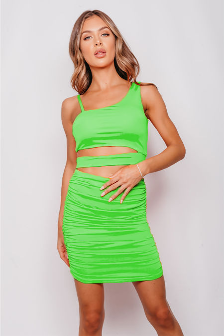 Neon Green Cut Out Crop Top And Ruched Skirt Co-Ord