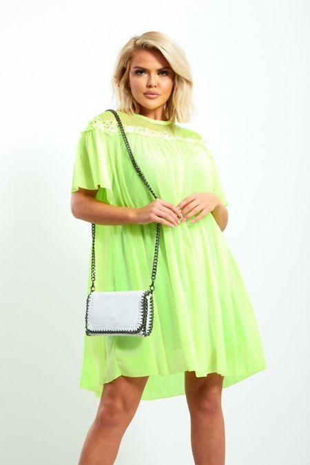 Neon Green Lace Trim Trapeze Dress