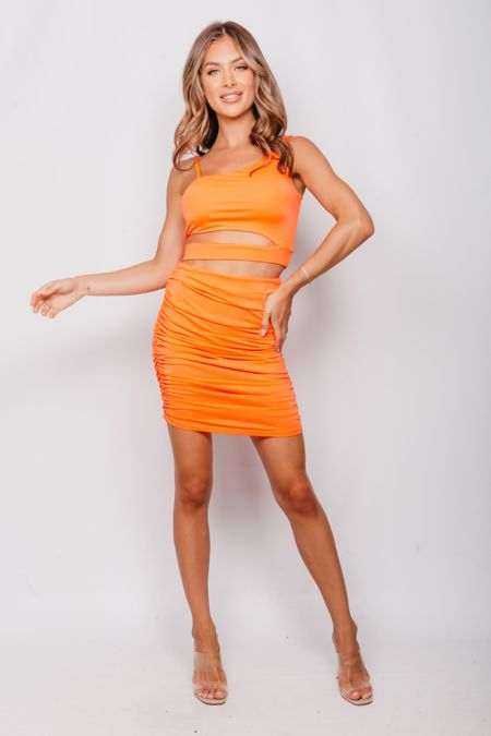 Neon Orange Cut Out Crop Top And Ruched Skirt Co-Ord