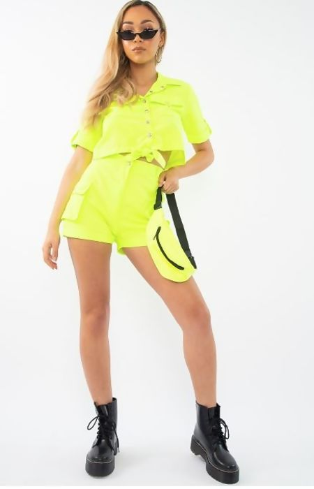 Neon Green Cargo Shorts and Shirt Set