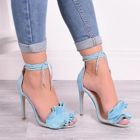 Light Blue High Heels With Frills At The Front