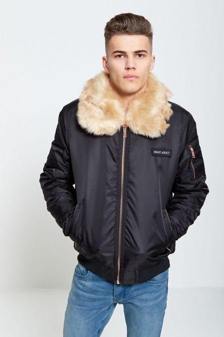 Night Addict Line Fur Bomber Jacket