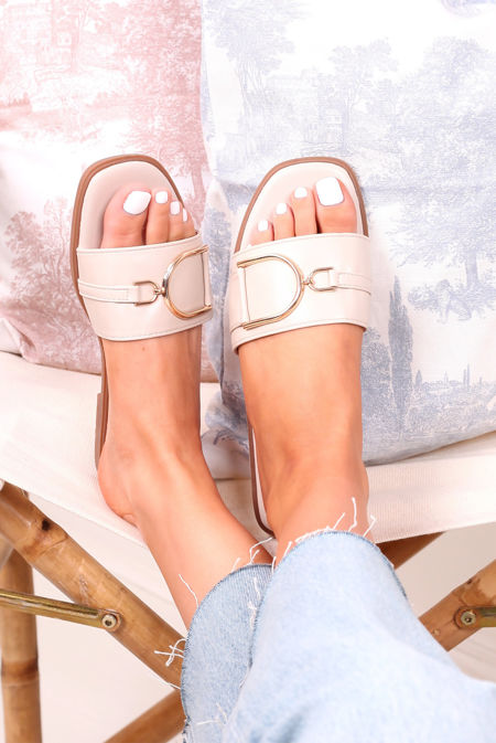 Nude D Buckle Faux Leather Sliders