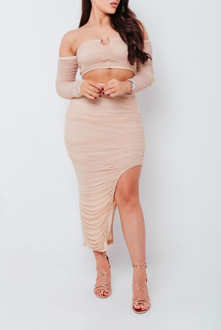 Nude Mesh Ruched Bardot Top And Midi Skirt Co Ord