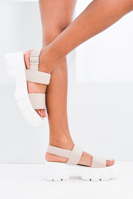 Nude Patent Quilted Chunky Sandals