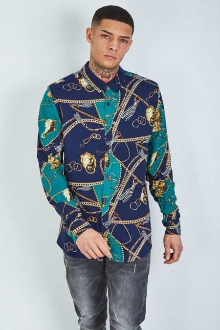 Navy Chain Print Long Sleeve Shirt