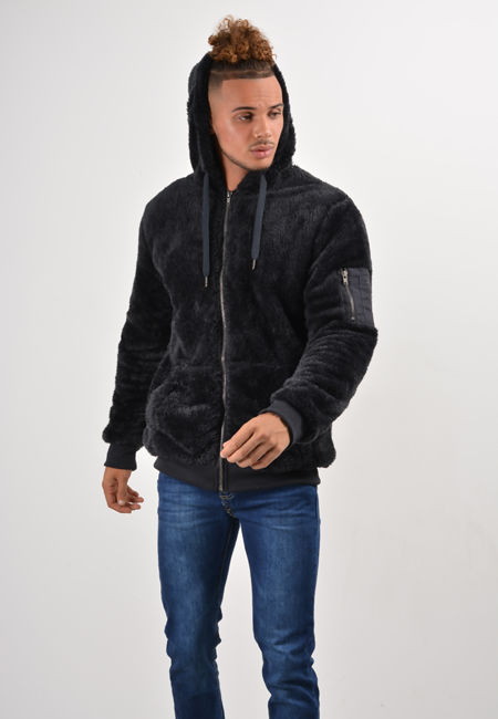 Navy Teddy Faux Fur Hood Jacket