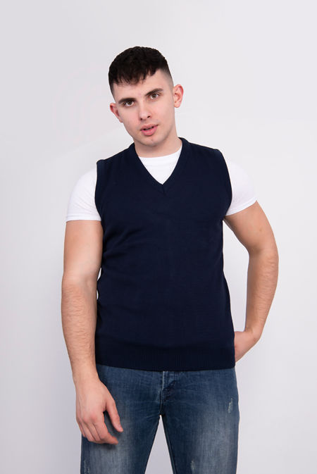 Navy V-Neck Sleeveless Knitted Jumper