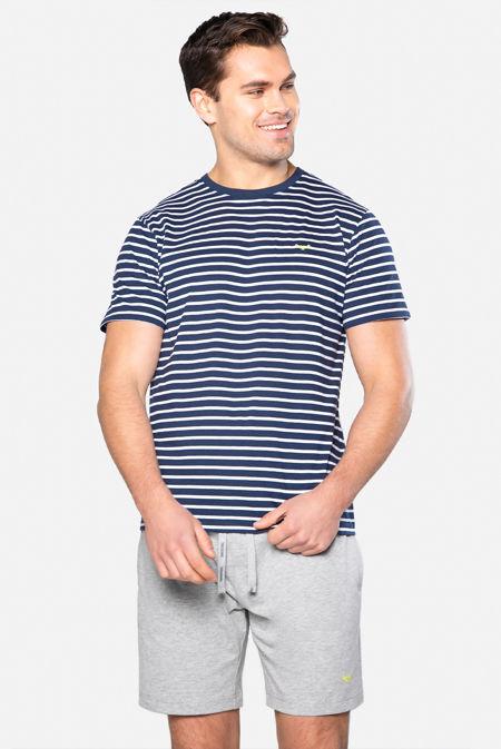 Navy With Grey Keagan Cotton Pyjama Set