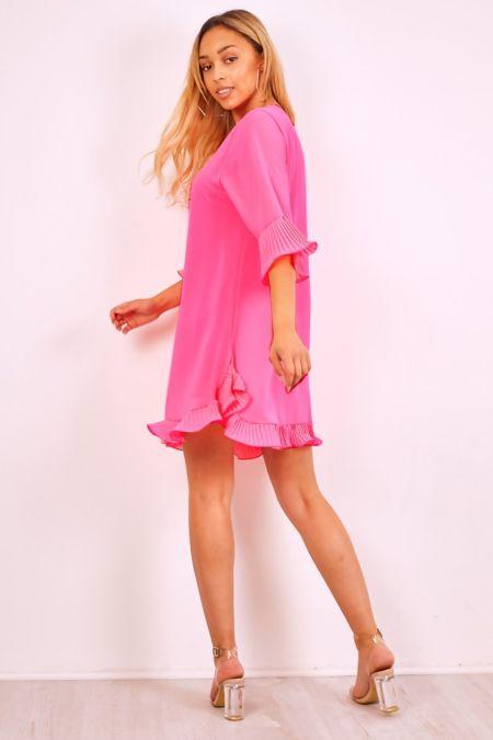 Plus Size Cream Pleated Frill Swing Dress