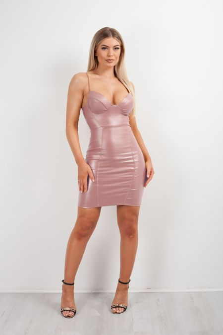 Nude Glitter Bralet Leather Bodycon Dress
