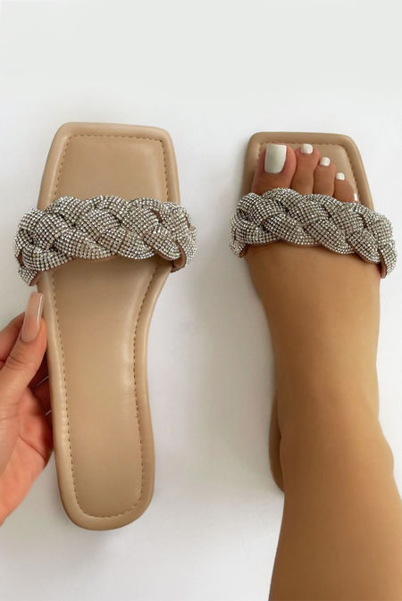 Nude Woven Diamante Strap Flat Sandals