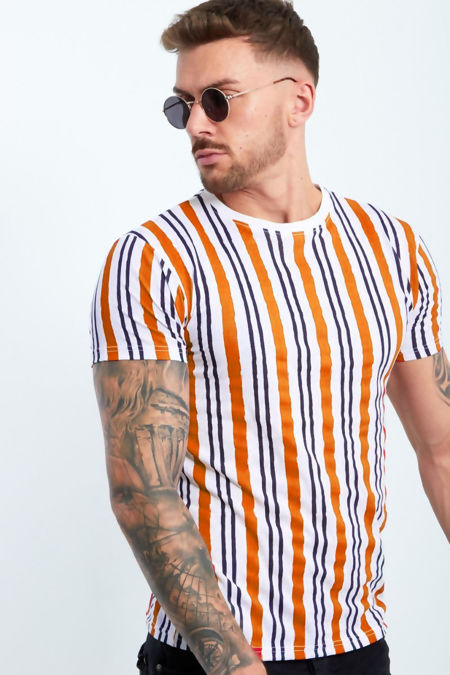 Orange Multi Stripe Muscle Fit T-Shirt