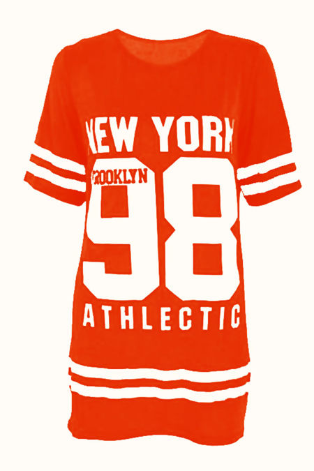Plus Size Orange New York 98 Oversize T-Shirt