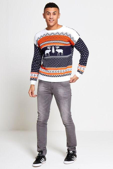 Orange Novelty Reindeer Christmas Jumper