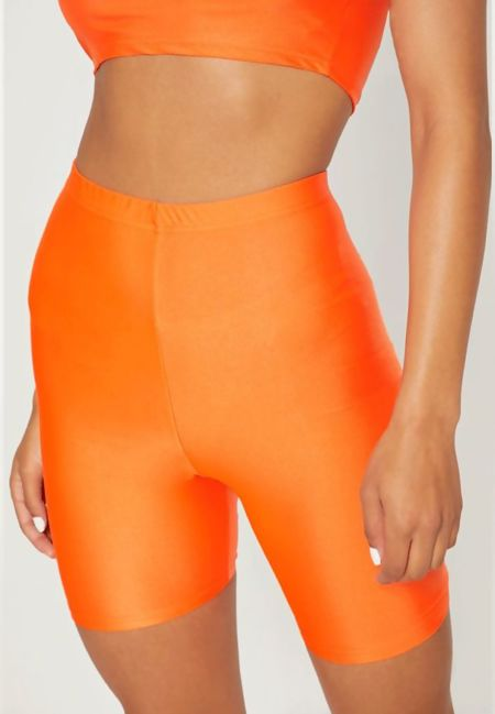 Plus Size Orange Slinky Cycling Shorts