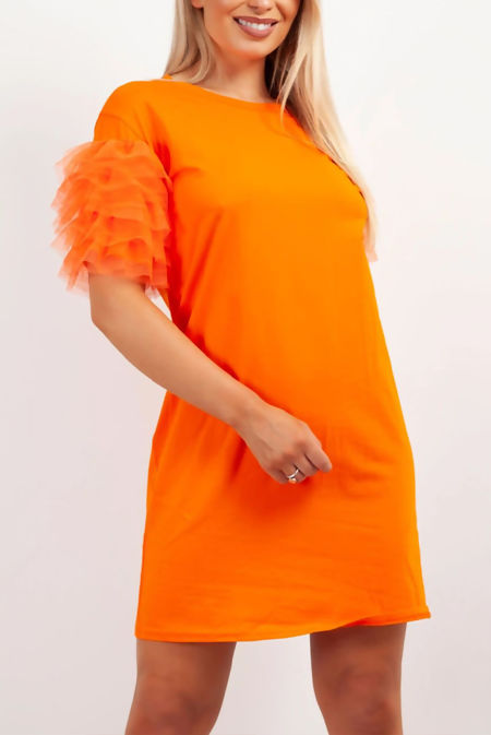 Orange Tulle Sleeve T-shirt Dress