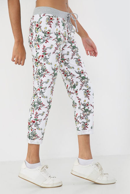 Off White With Rose Floral Print Trouser