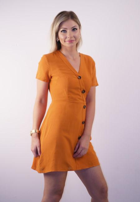Orange Asymmetric Button Up Skater Dress