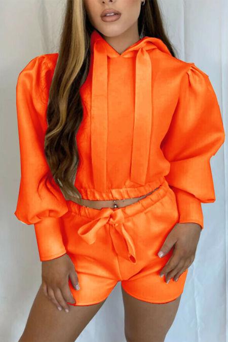 Orange Hooded Ribbon Short Set