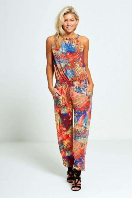 Palm Leaf Printed Halter Neck Jumpsuit