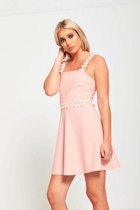 Peach Crochet Strap Skater Dress