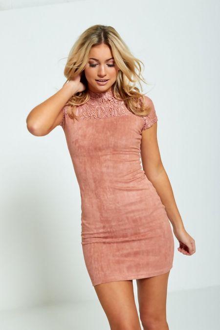 Peach Lace Top Bodycon Mini Dress