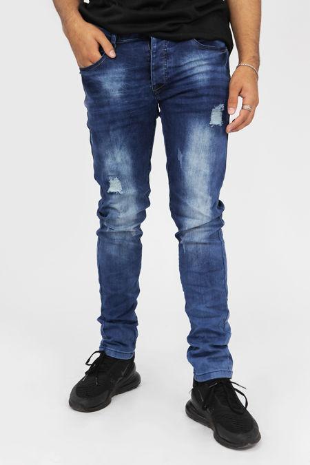 Petrol Blue Distressed Slim Fit Jeans