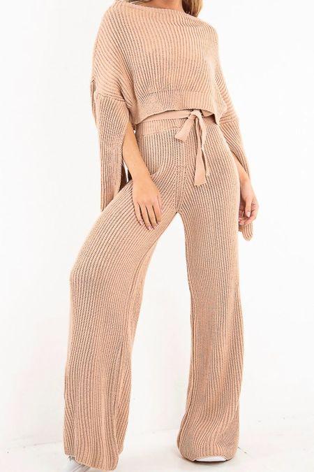 Pink Chunky Knit Loungewear Set