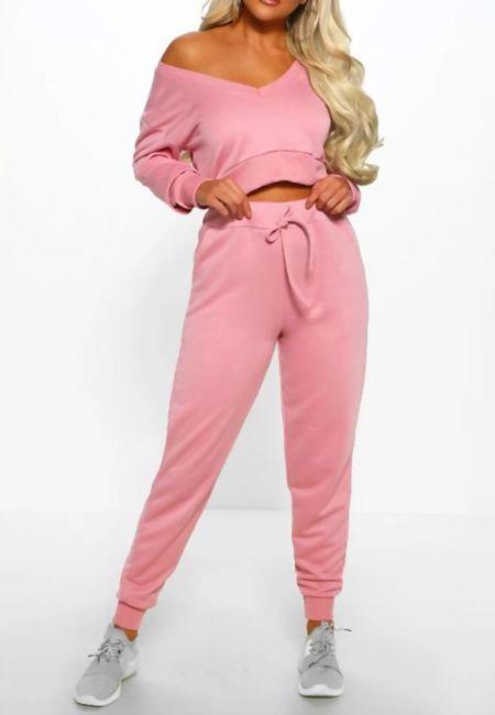 Pink Cropped Lounge Wear Set