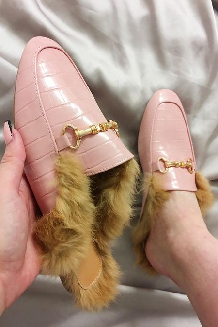 Pink Faux Fur Lined Croc Mules