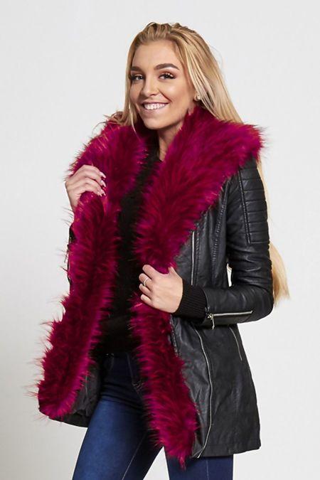 Pink Faux Fur Long Biker Jacket