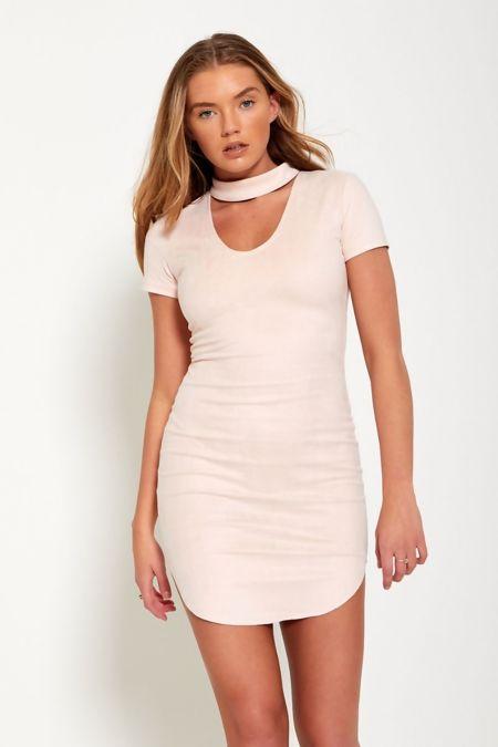 Pink Faux Suede Choker Neck Bodycon Mini Dress
