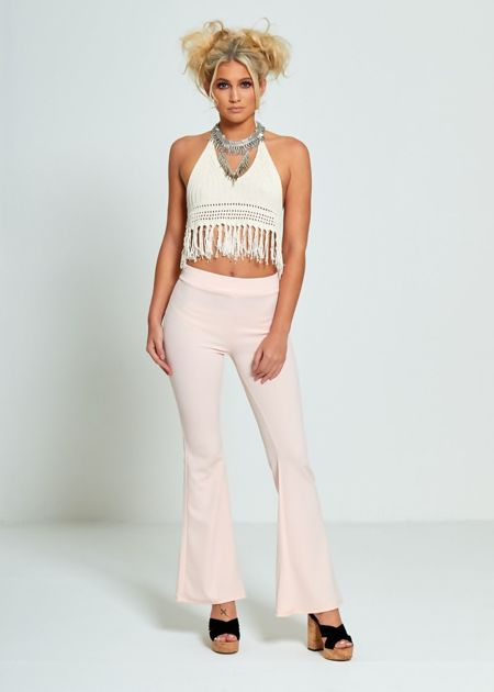Pink Flared Leg Trousers