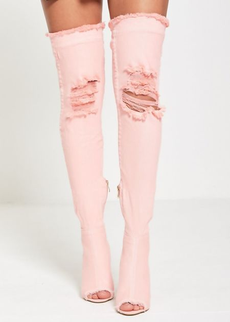 Pink Over Knee Ripped Denim Heels