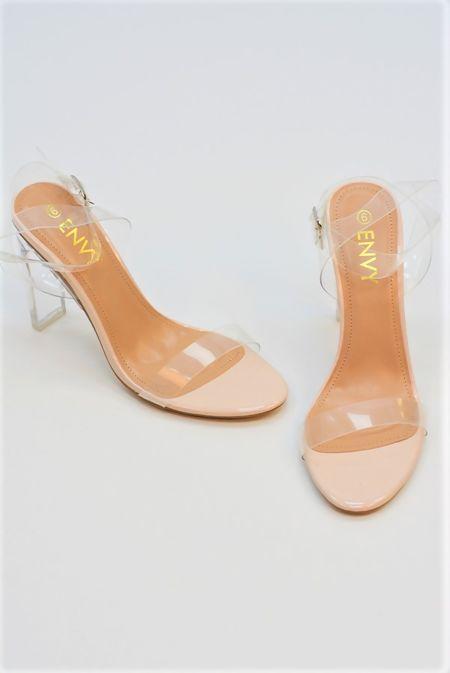 Pink Perspex Wrap Ankle Block Heels