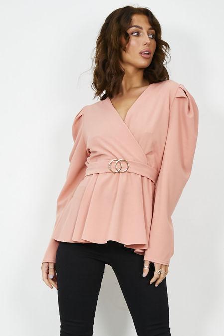 Pink Puff Shoulder Back Knot Belted Blouse