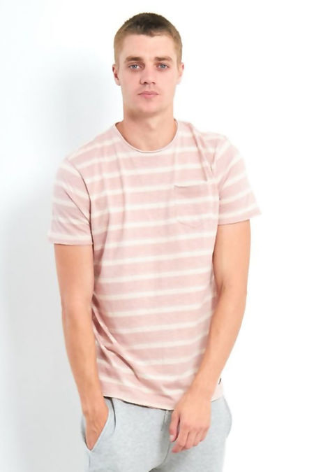Pink Short Sleeve Crew Neck Stripe T-Shirt