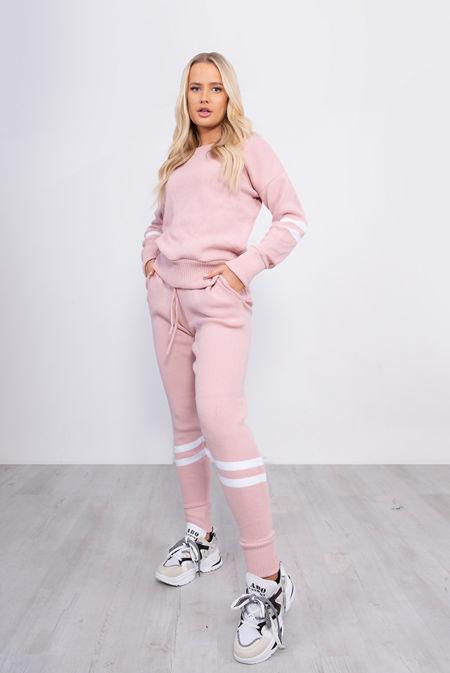 Pink Stripe Detail Knitted Lounge Wear