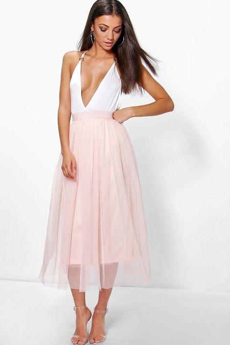 Pink Tulle Pleated Mesh Skirt