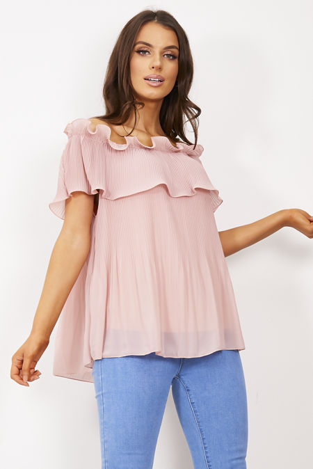 Pleated Double Layer Bardot Top