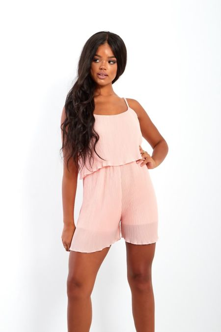 Pleated Ruffle Hem Playsuit