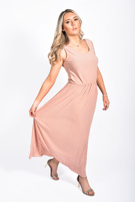 Pleated V Neck Maxi Dress