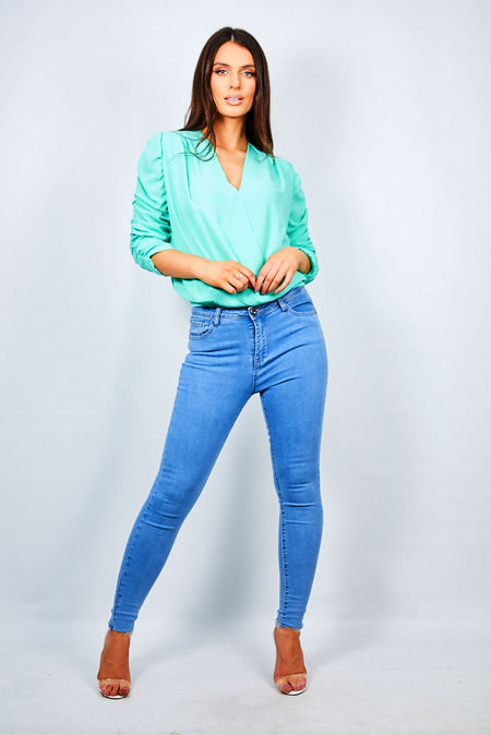 Plunge Ruched Long Sleeve Blouse