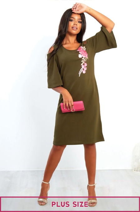 Plus Floral Embroidery Cut Out Shoulder Dress