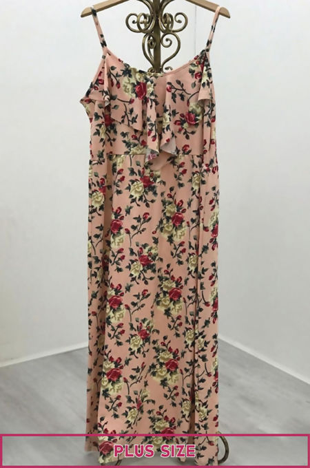 Plus Pink Floral Ruffle Maxi Dress