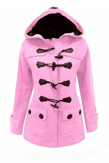Plus Size Baby Pink Fleece Hooded Toggle Jacket