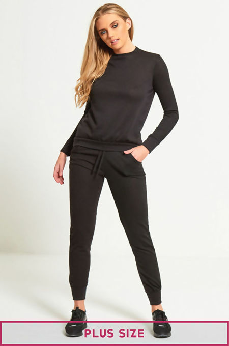 Plus Size Back TO Basic Plain Skinny Tracksuit