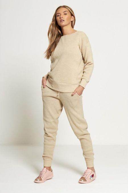 Plus Size Beige Lounge Wear Knitted Set