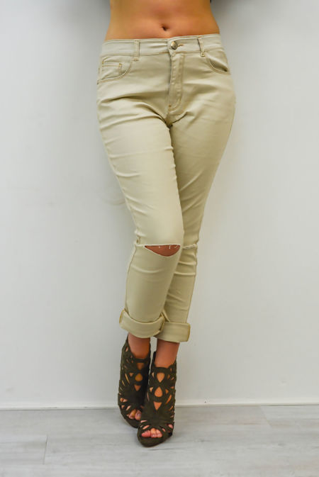 Plus Size Beige Ripped Knee Skinny Jeans